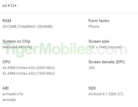 LG K12+ получит аппаратную платформу от Xiaomi Redmi 6