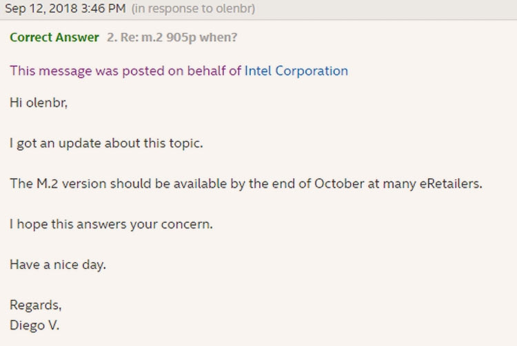 Intel пообещала выпустить Optane 905P M.2 в конце октября