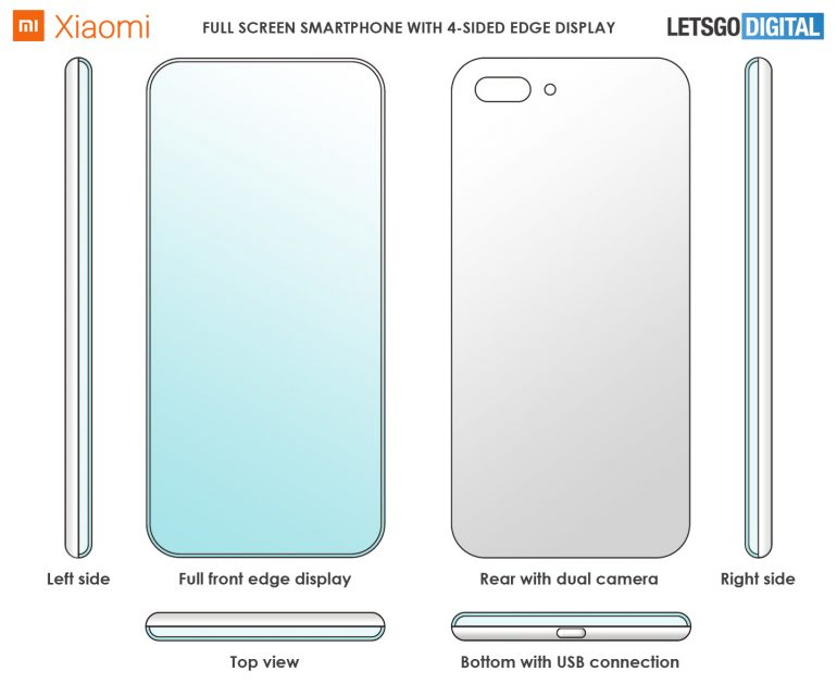 Xiaomi запатентовала экран смартфона, загнутый с 4 сторон