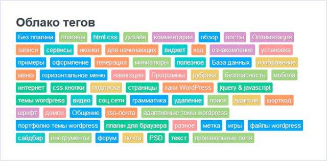 Облако тегов на WordPress