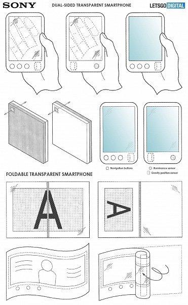 Гибкие смартфоны с прозрачными экранами: Sony оформила новый патент