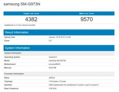 Samsung Galaxy S10 протестировали на производительность