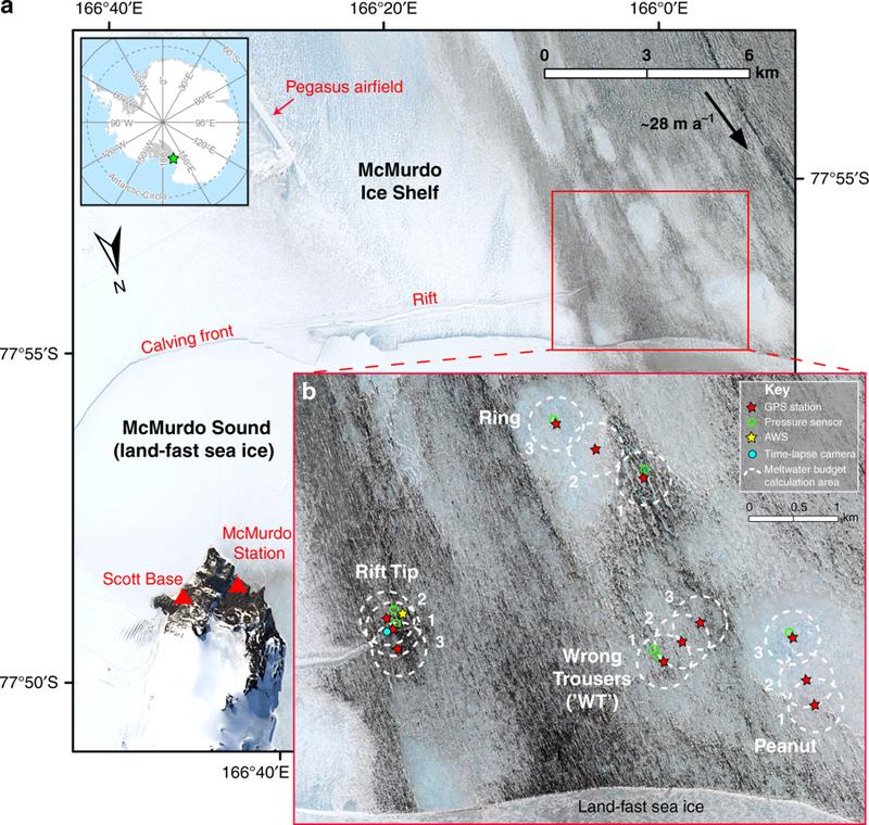 Антарктические ледники прогнулись из-за талой воды