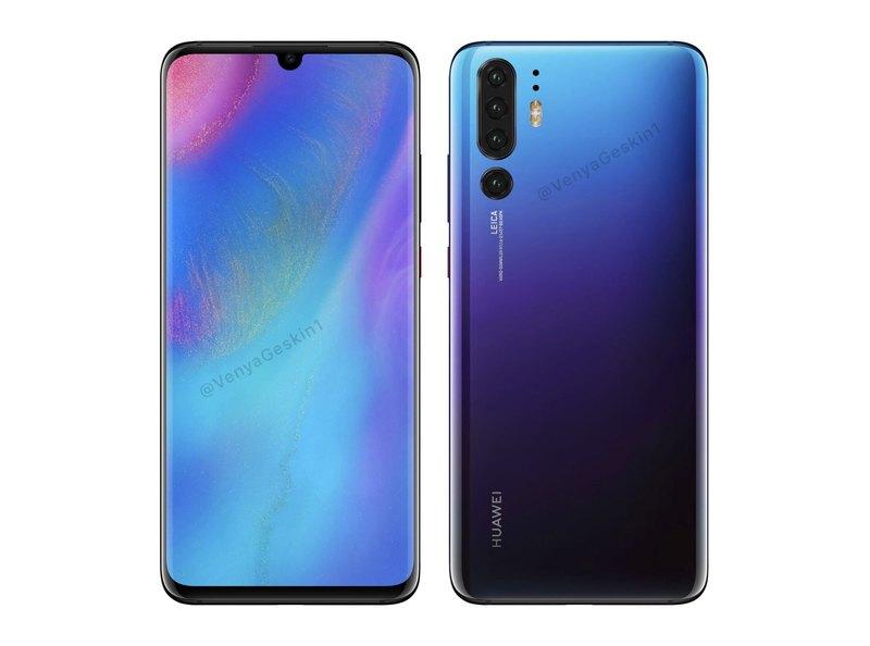 Смартфон Huawei P30 Pro представили на рендере