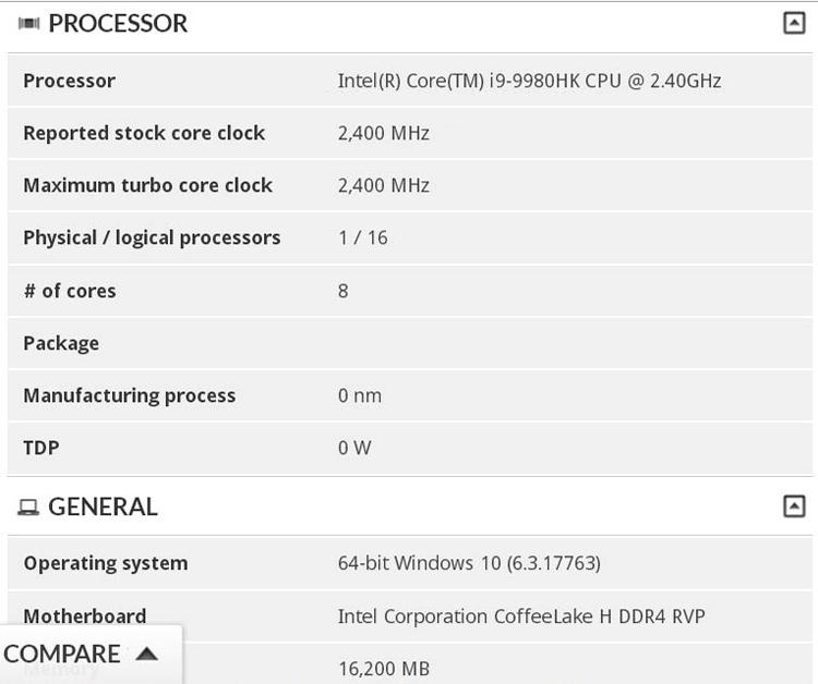 Intel готовит восьмиядерный процессор Core i9-9980HK для ноутбуков