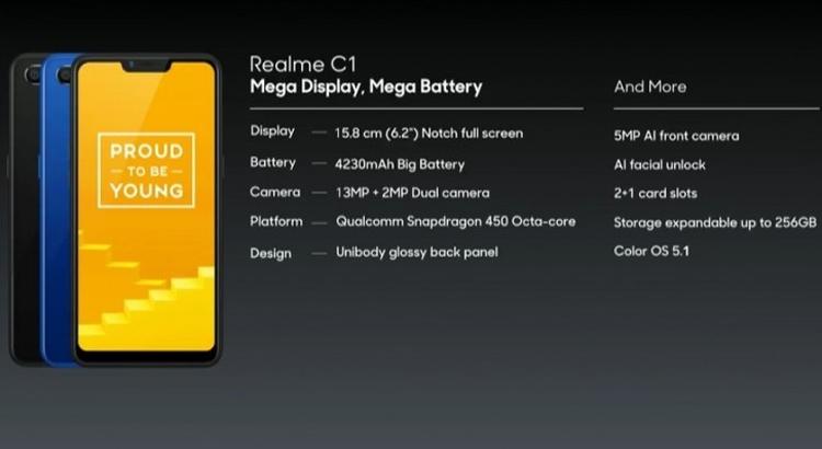 Смартфон Realme C1 с процессором Snapdragon 450 и экраном HD+ стоит около 0