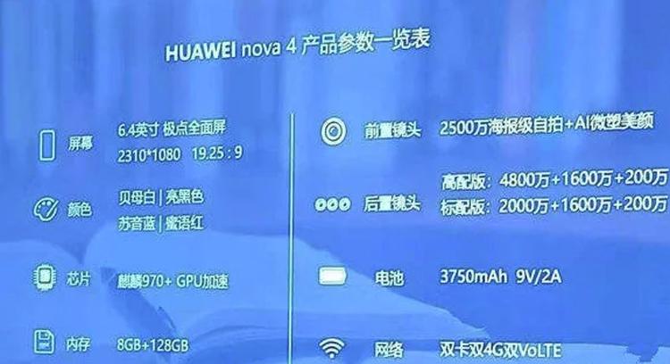 Смартфон Huawei Nova 4 будет оснащён чипом Kirin 970 и 8 Гбайт ОЗУ