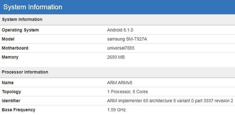 Раскрыты подробные характеристики мощного планшета Samsung Galaxy Tab S4