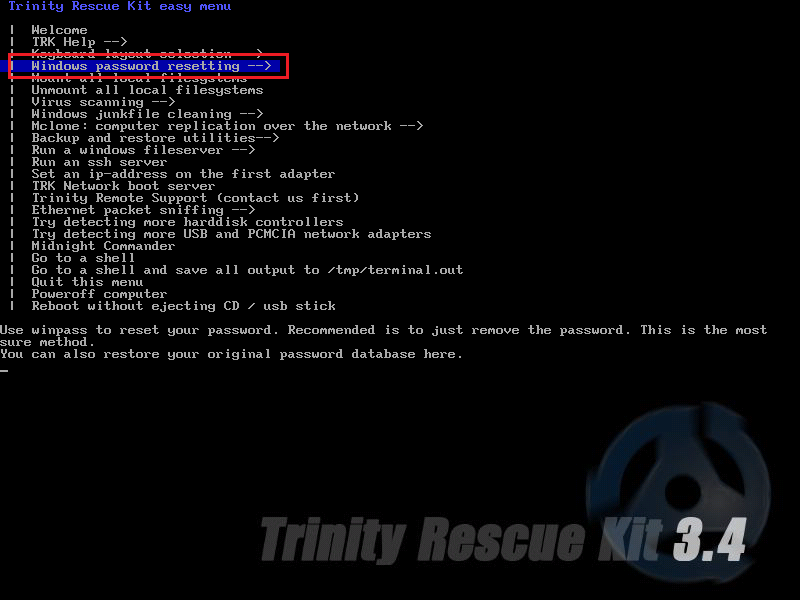 Новая статья: Как сбросить пароль Windows 10 (1803): Trinity Rescue Kit